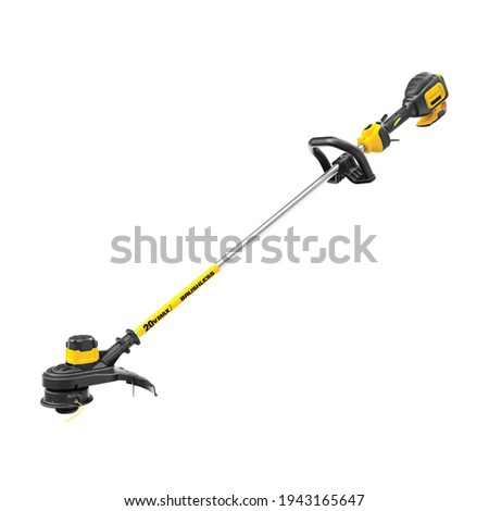 Cordless Weed Wacker Isolated on White Background. Side Front View Modern String Trimmer. Garden Power Tool Equipment. Yellow Black Brush Cutter. Electric Lithium-Ion Grass Trimmer Foto d'archivio ©