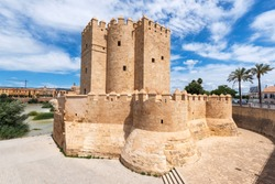 Cordoba Calahorra Tower. fortress of Islamic origin conceived as an entrance and protection Roman Bridge of Cordoba across Guadalquivir River. Andalusia, Spain .