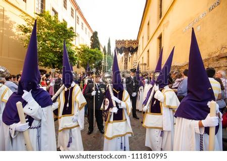 CORDOBA, SPAIN - APRIL 20: The extraordinarily  Christian procession of the Semana Santa (Holy Week) in Cordoba, Andalusia, Spain on April 20, 2011.