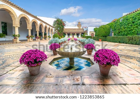 Cordoba Viana Palace built in XV century. Viana Palace is tourist attraction known for 12 magnificent patios and a garden: Patio de Columnas (Courtyard of the Columns).