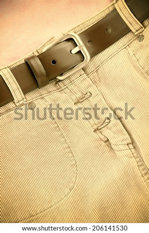 Corduroy skirt with leather belt sepia image.
