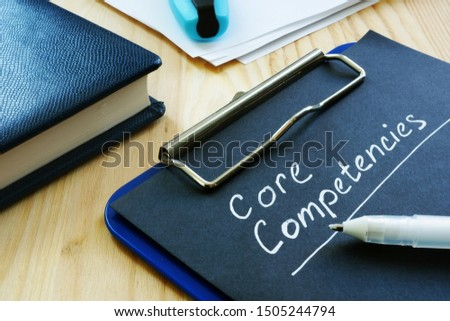 Core competencies list on the black page. Сток-фото ©