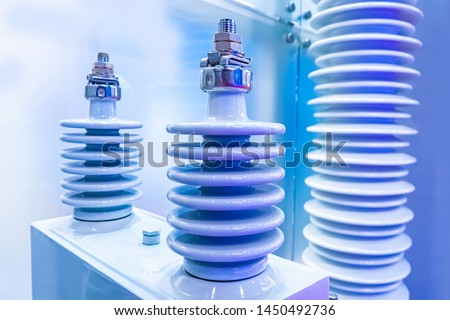 Core insulators made of porcelain. Insulating material. Electrical insulating ceramics. The electro-ceramics. Insulators for high voltage. Electrical industry.