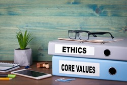 core values and ethics. Successful business and career background.