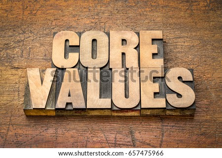 core values  banner  -  word abstract in vintage letterpress wood type blocks  against rustic wooden background
