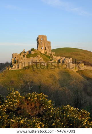 Corfe Castle Ruins in Corfe Village near Swanage.