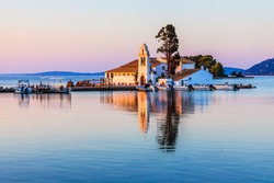 Corfu, Greece. Picturesque Vlacherna Monastery at sunrise.