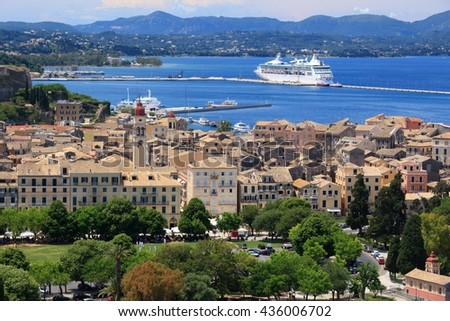 Corfu Old Town (Kerkyra) - UNESCO World Heritage Site in Greece. Aerial view with cruise ship.