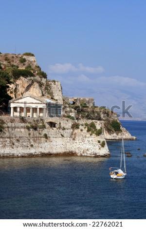 Corfu Town castle, sea view