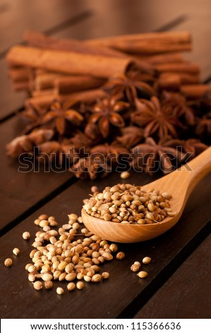Coriander on a beech wood spoon with spices at the background