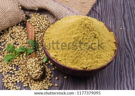 Coriander seeds, fresh coriander and powdered coriander #1177379095