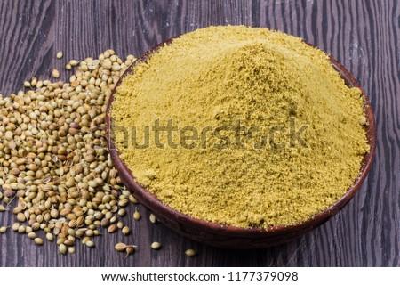 Coriander seeds, fresh coriander and powdered coriander #1177379098