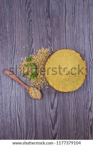 Coriander seeds, fresh coriander and powdered coriander #1177379104