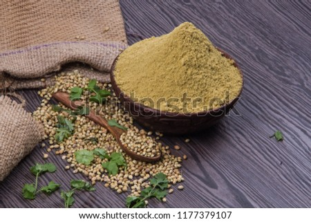 Coriander seeds, fresh coriander and powdered coriander #1177379107