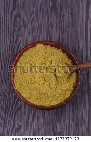 Coriander seeds, fresh coriander and powdered coriander #1177379173