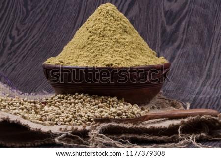 Coriander seeds, fresh coriander and powdered coriander #1177379308