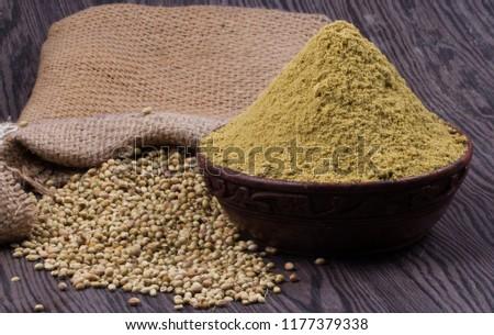 Coriander seeds, fresh coriander and powdered coriander #1177379338