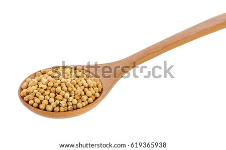 Coriander seeds in wood spoon on white background #619365938