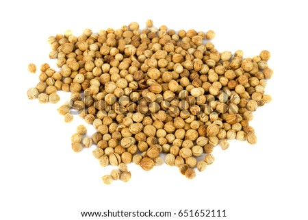 Coriander seeds isolated on white background #651652111
