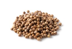 Coriander seeds placed on a white background