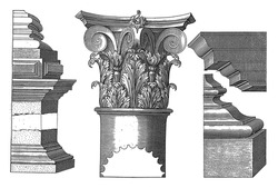 Corinthian capital and base, Hendrick Hondius I, after Hans Vredeman de Vries, after Paul Vredeman de Vries, Details of the Corinthian building order: base, capital and main frame, vintage engraving.