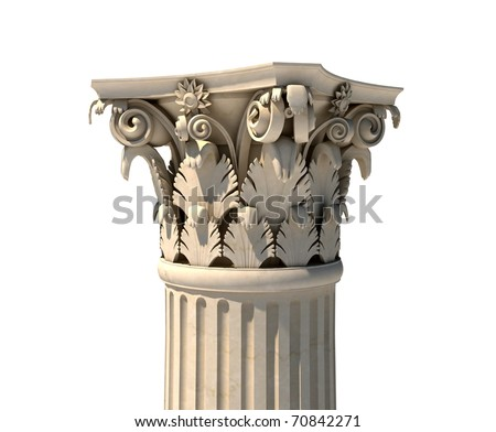 Corinthian column capital isolated on white