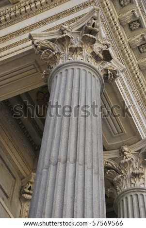Corinthian column in Congreso de los Diputados. Madrid. Spain