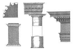 Corinthian columns and main frame, Hendrick Hondius (I), after Hans Vredeman de Vries, after Paul Vredeman de Vries, 1620 Details of the Corinthian building order: pedestal, column, capital and main