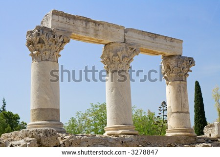 Corinthian columns, from their origin: Corinth, Greece.