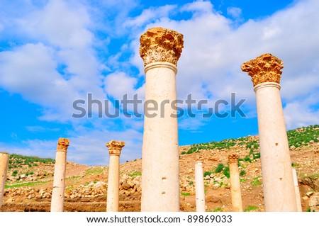 Corinthian columns in a temple in Pella ,Jordan - stock photo