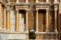 Corinthian style columns at gymnasium in antique lydian city Sardis, Salihli, Turkey