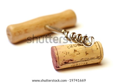cork and corkscrew isolated on white