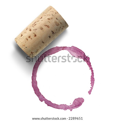 Cork and red wine stain over white background