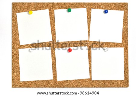 Cork board and blank notes. The blank notes of Six sheets stuck on the corkboard.
