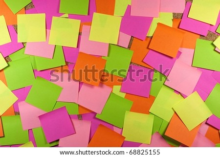 Cork board with colored sticky note