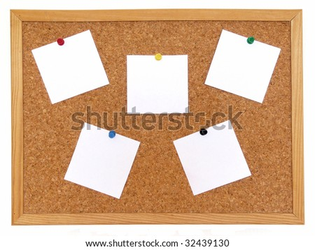Cork board with notes isolated over white background Foto stock ©
