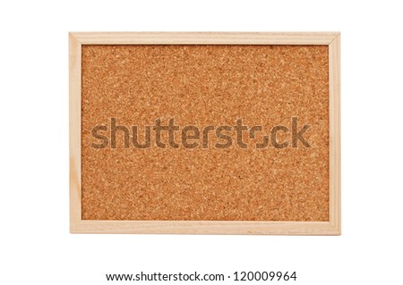 Cork board with wooden frame isolated on white background