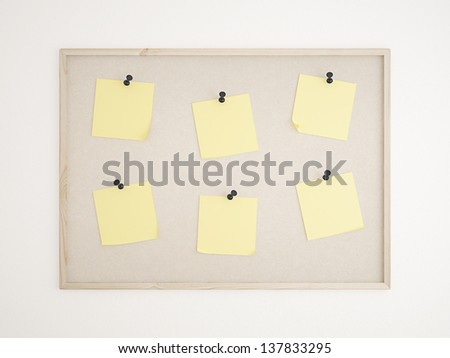 Cork bulletin board with notes