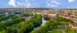 Cork City Center Ireland amazing scenery aerial drone view at sunset