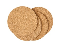 Cork drink coasters arranged on the white background.