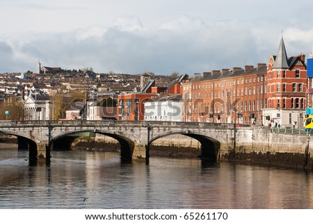 Cork, Ireland. The north channel River Lee and St Patrick's Bridge