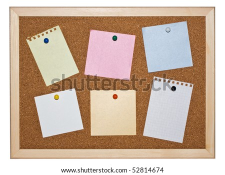 Cork memo board background with notice papers