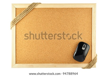 cork notice board and mouse