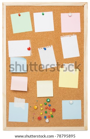 Cork notice board isolated on white background