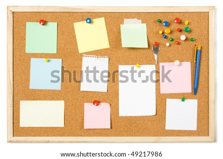 Cork notice board with blank sticky notes