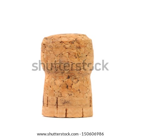 Cork of champagne. Isolated on a white background. - stock photo