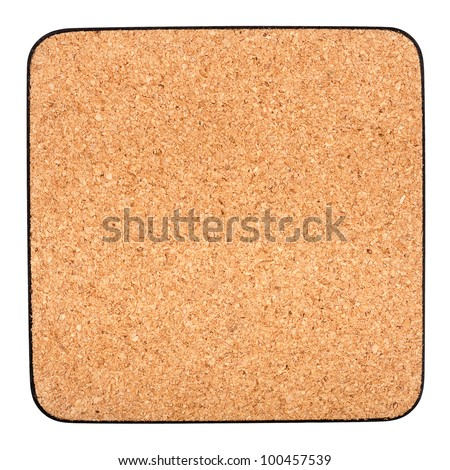 Cork table coaster with black border isolated on white