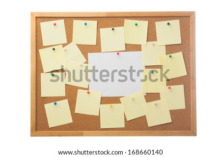Corkboard and blank paper notes. Isolated on white.