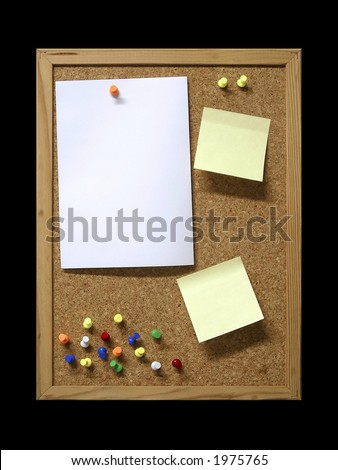 Corkboard with blank paper, pins and post-it.