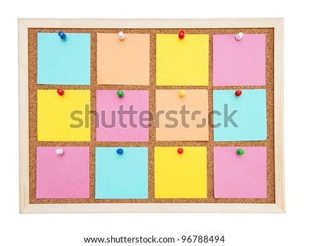 Corkboard with many postit